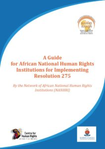 Report cover for a guide for African National Human Rights Institutions for Implementing Resolution 275