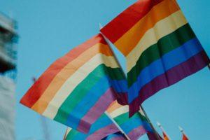 Rainbow LGBT flag at a protest.